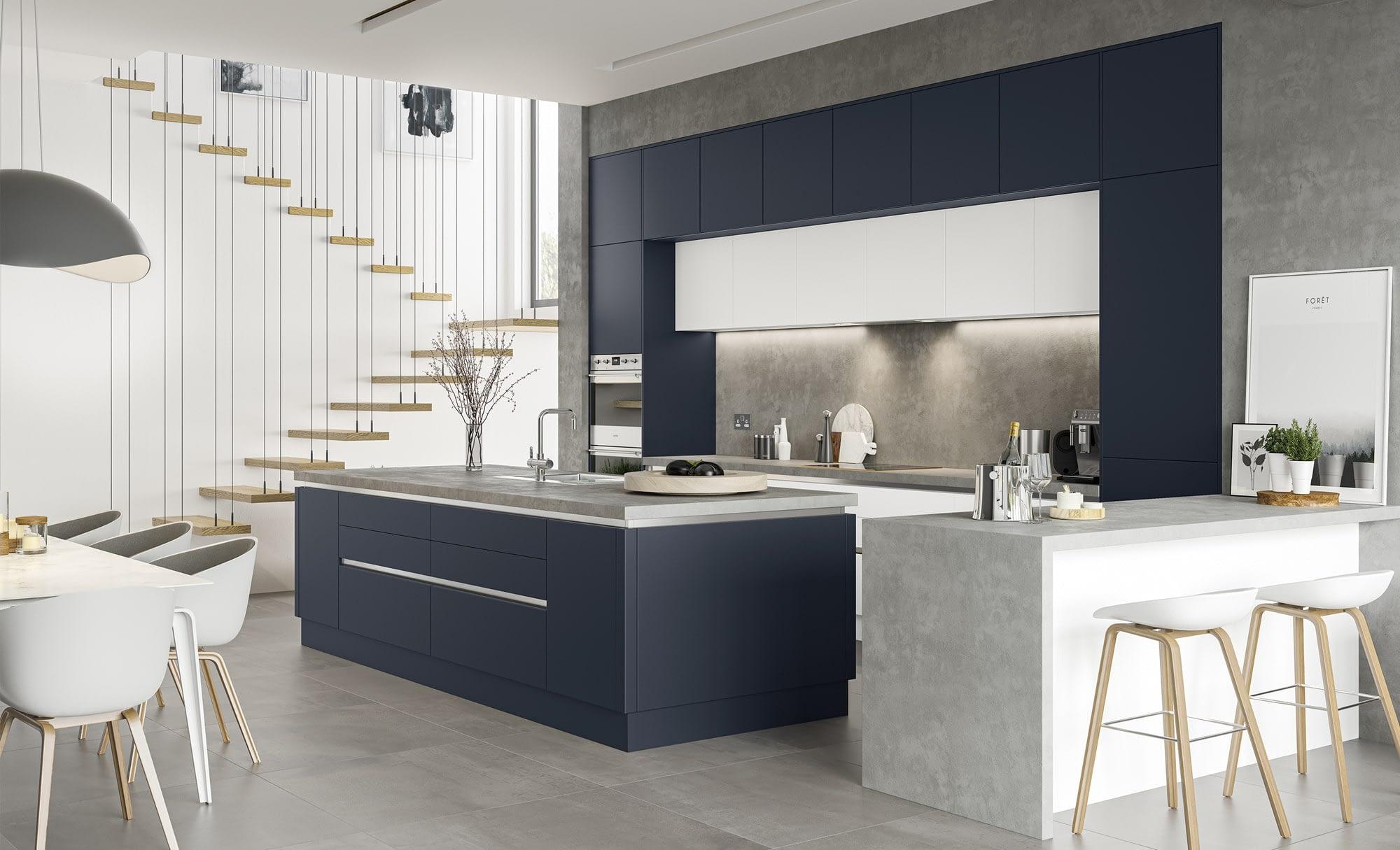 Kitchen Doors Peterborough ZOLA SOFT-MATTE Indigo & White