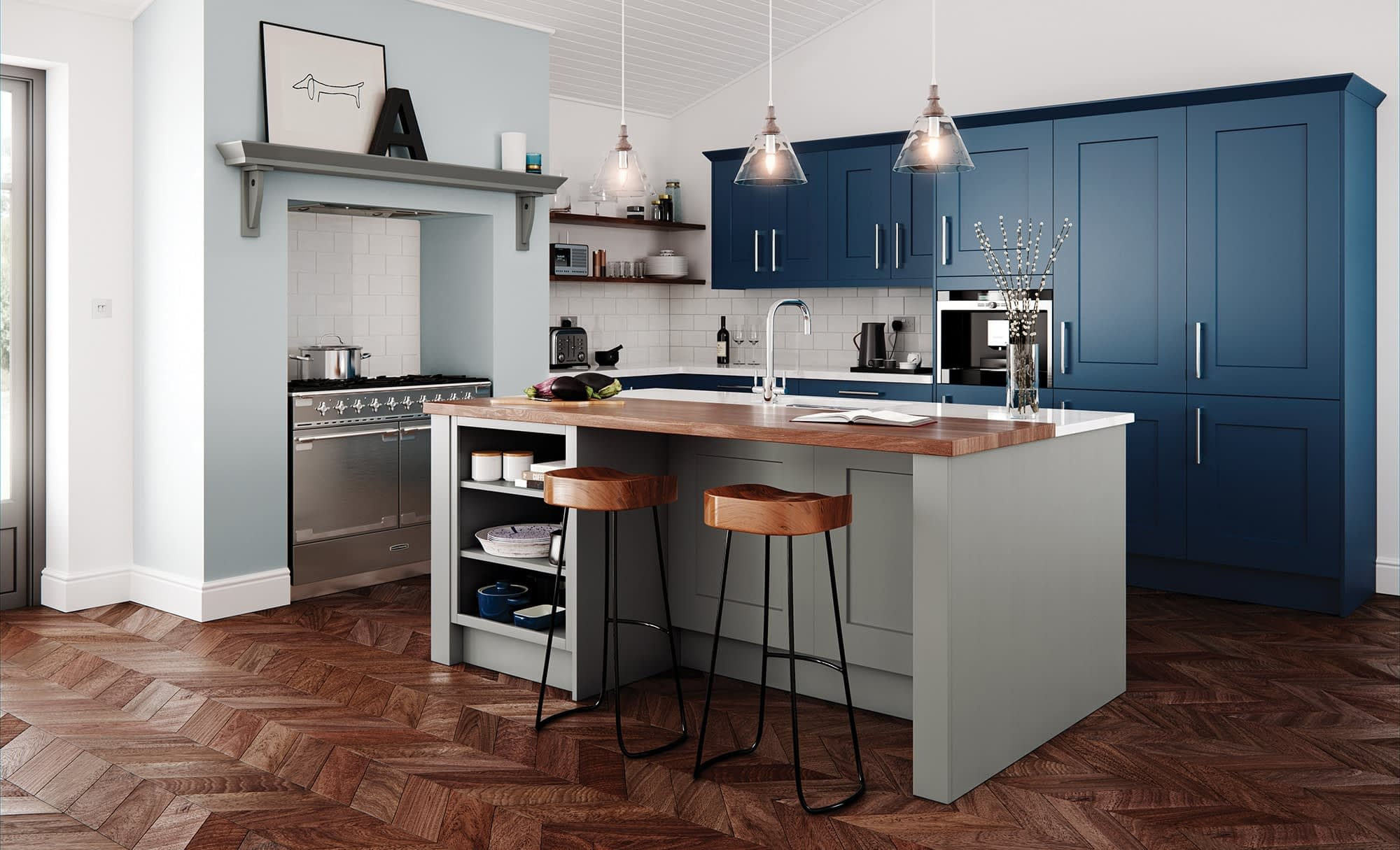 Kitchen Doors Peterborough CLONMEL Stone & Parisian Blue