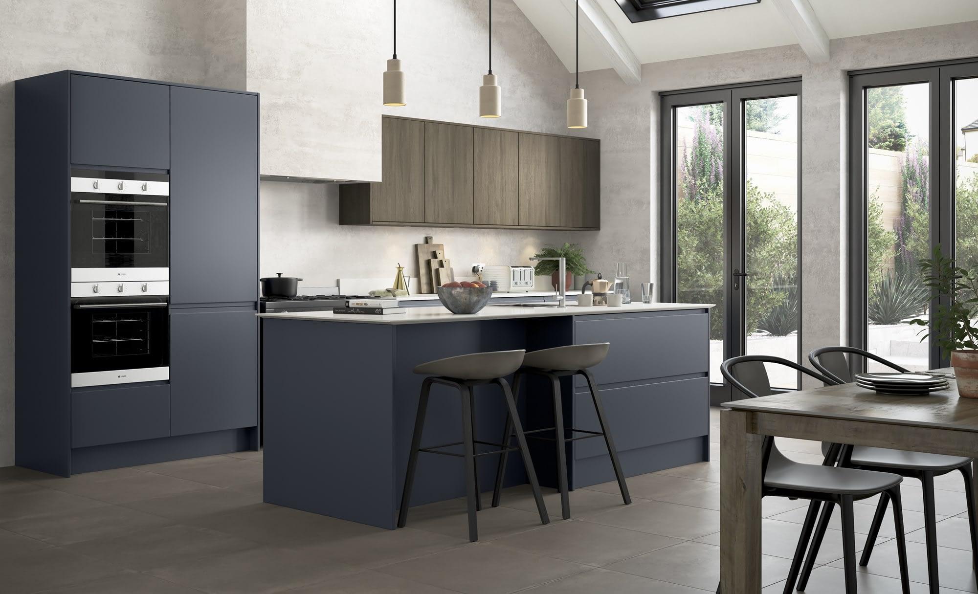 Kitchen Doors Peterborough STRADA MATTE Slate Blue & Rezana stained Espresso