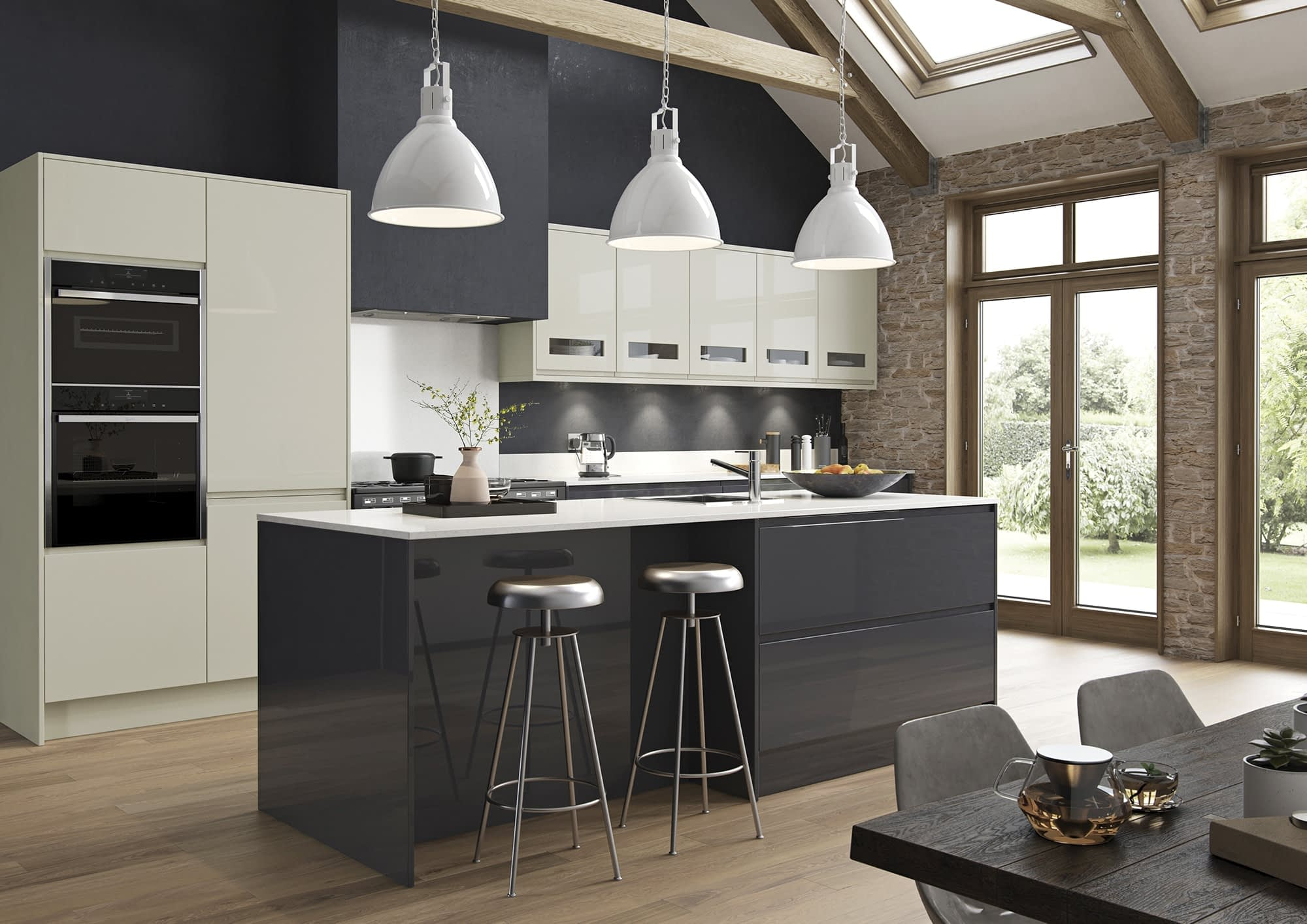 Kitchen Doors Peterborough STRADA GLOSS Porcelain & Graphite