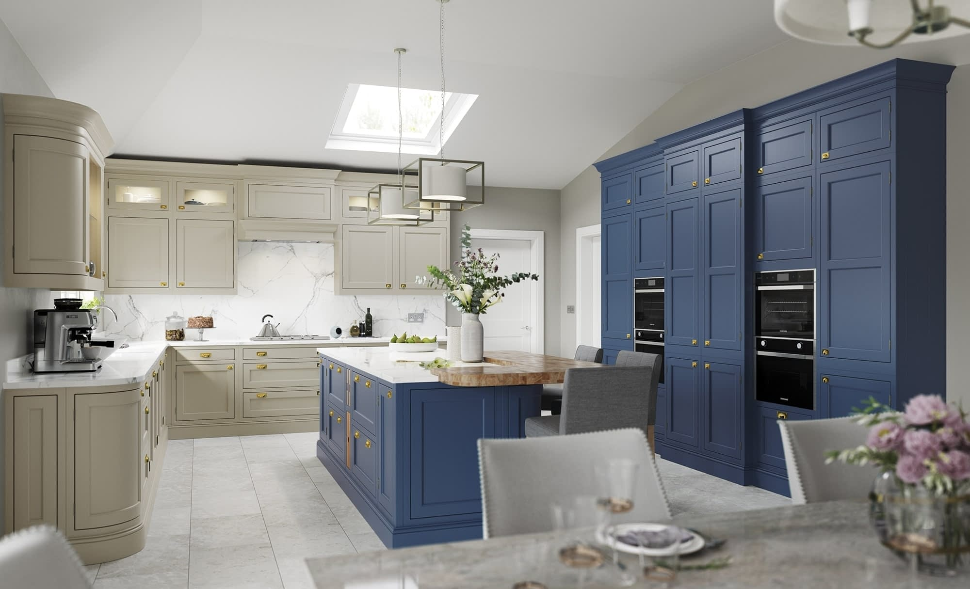 Kitchen Doors Peterborough BELGRAVIA Parisian Blue & Stone