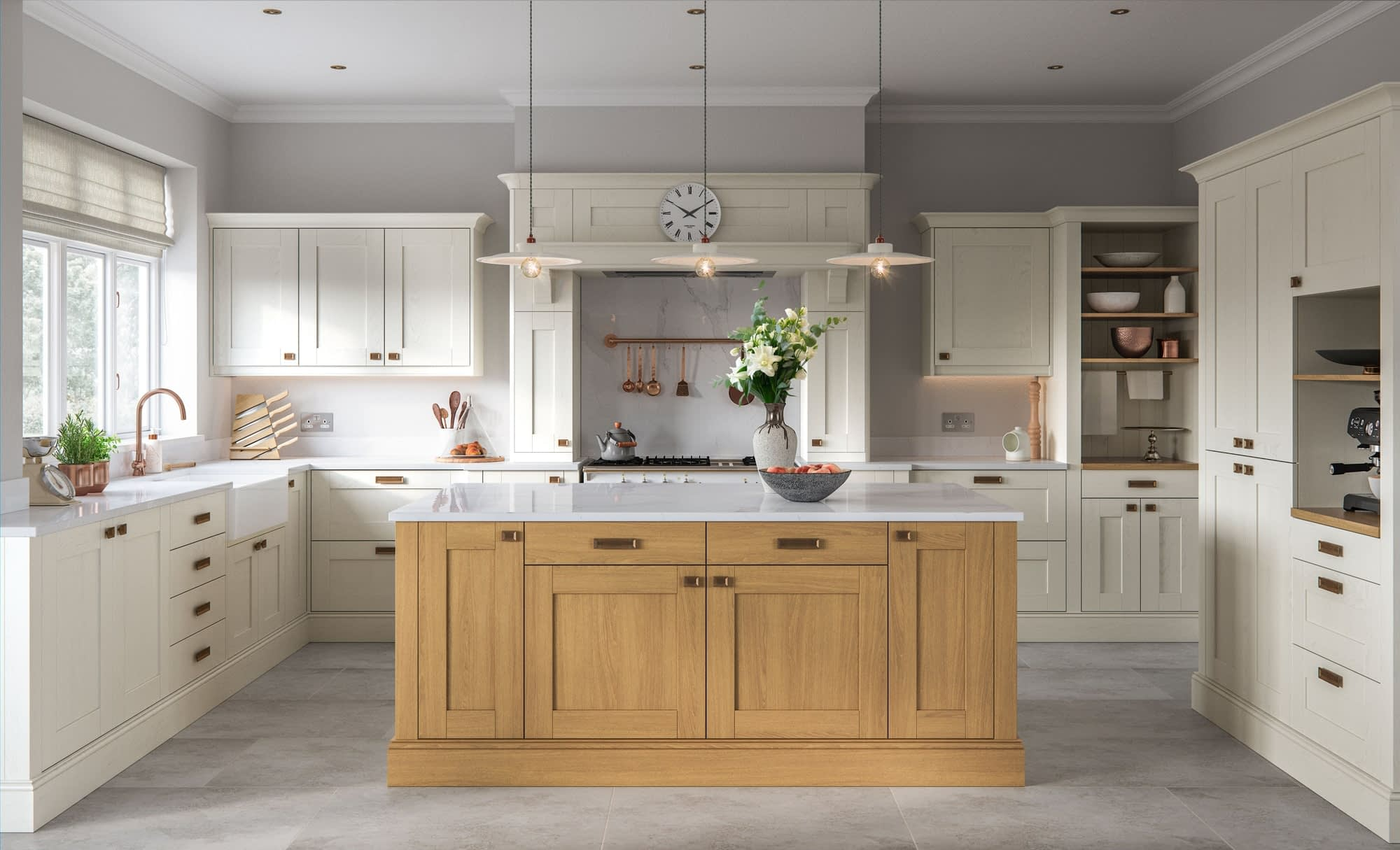 Kitchen Doors Peterborough MADISON Light Oak & Ivory