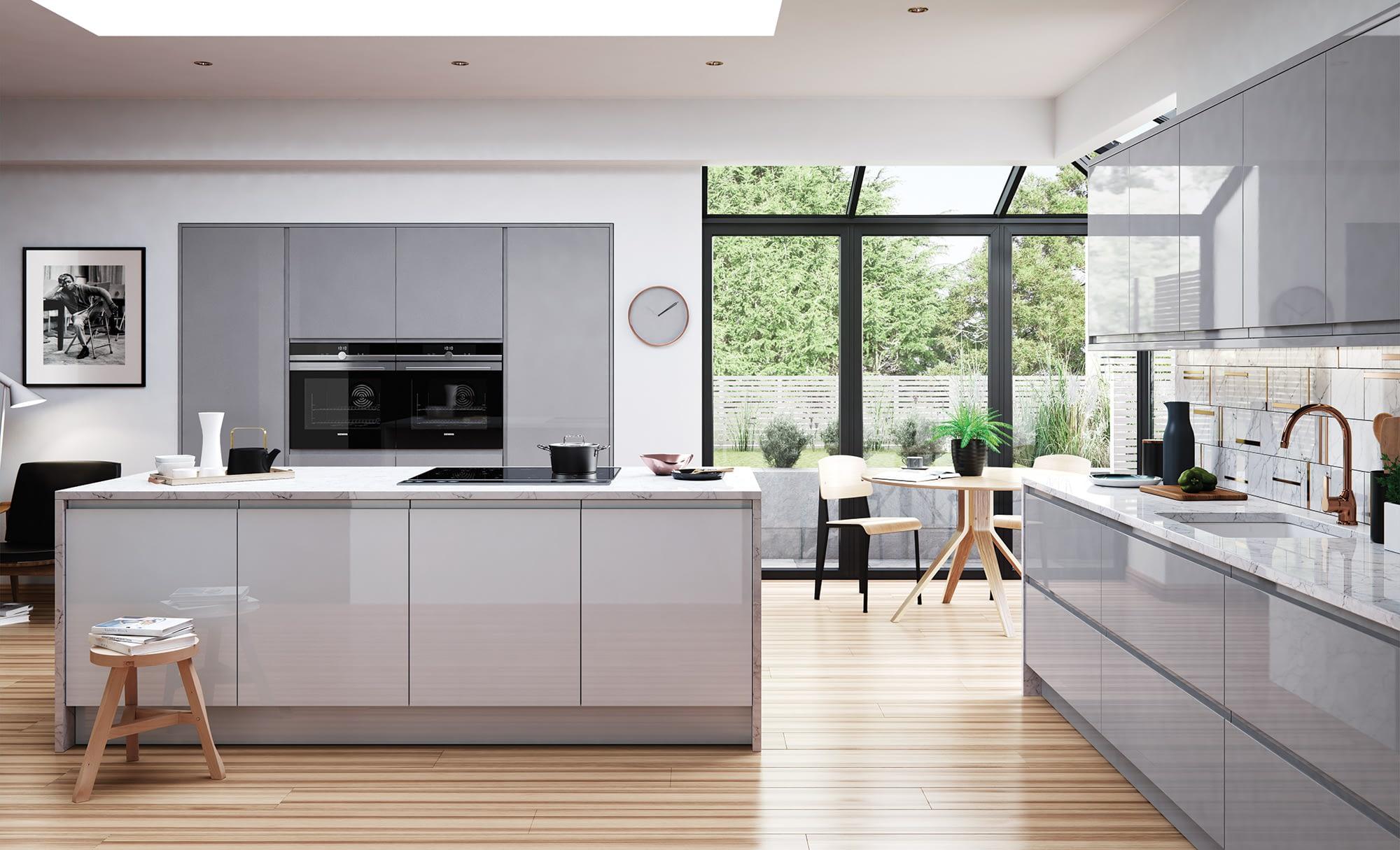 Kitchen Doors Peterborough STRADA GLOSS Light Grey & Dust Grey