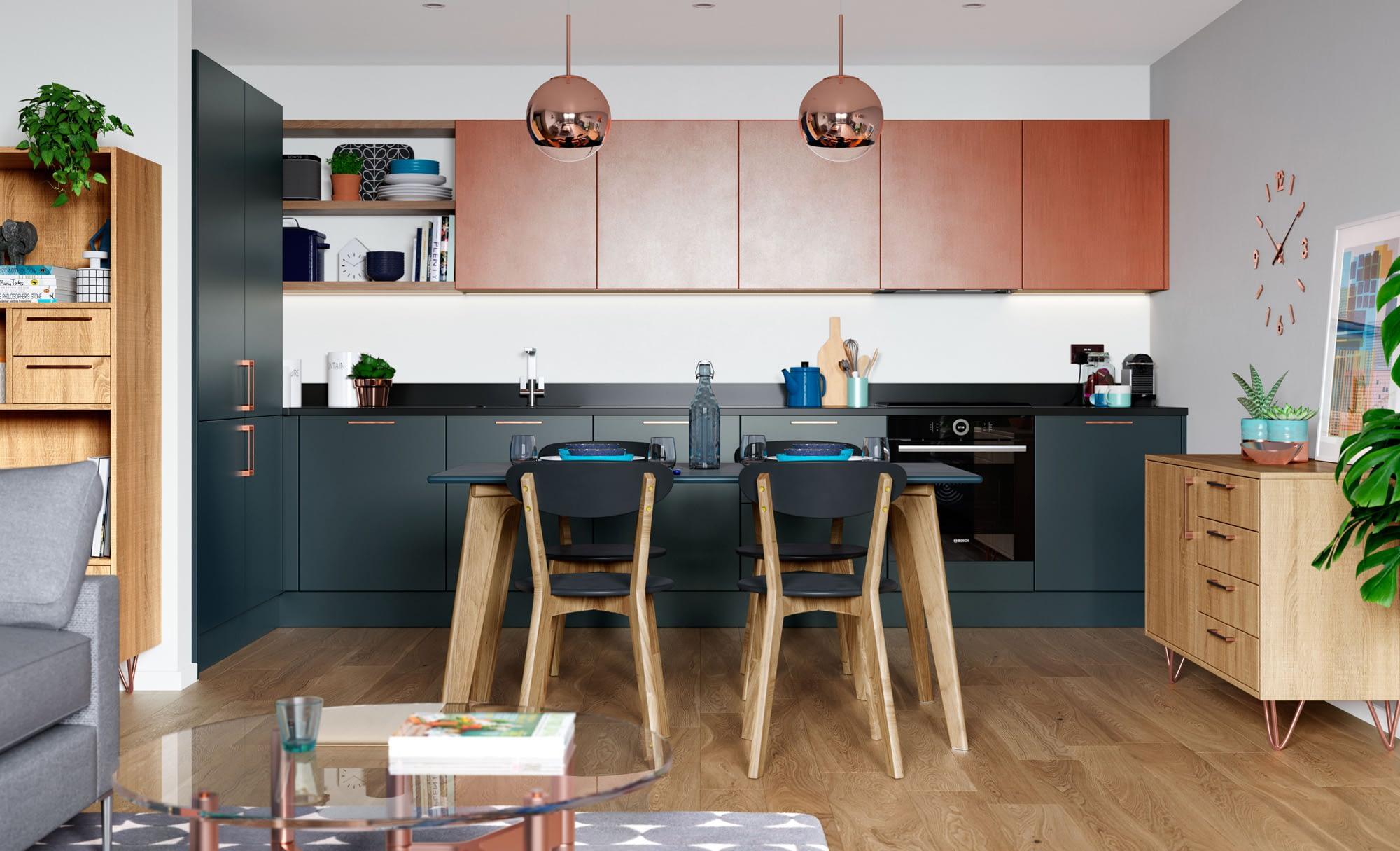 Kitchen Doors Peterborough ZOLA MATTE Marine, Ferro Painted Copper & Rezana Stained