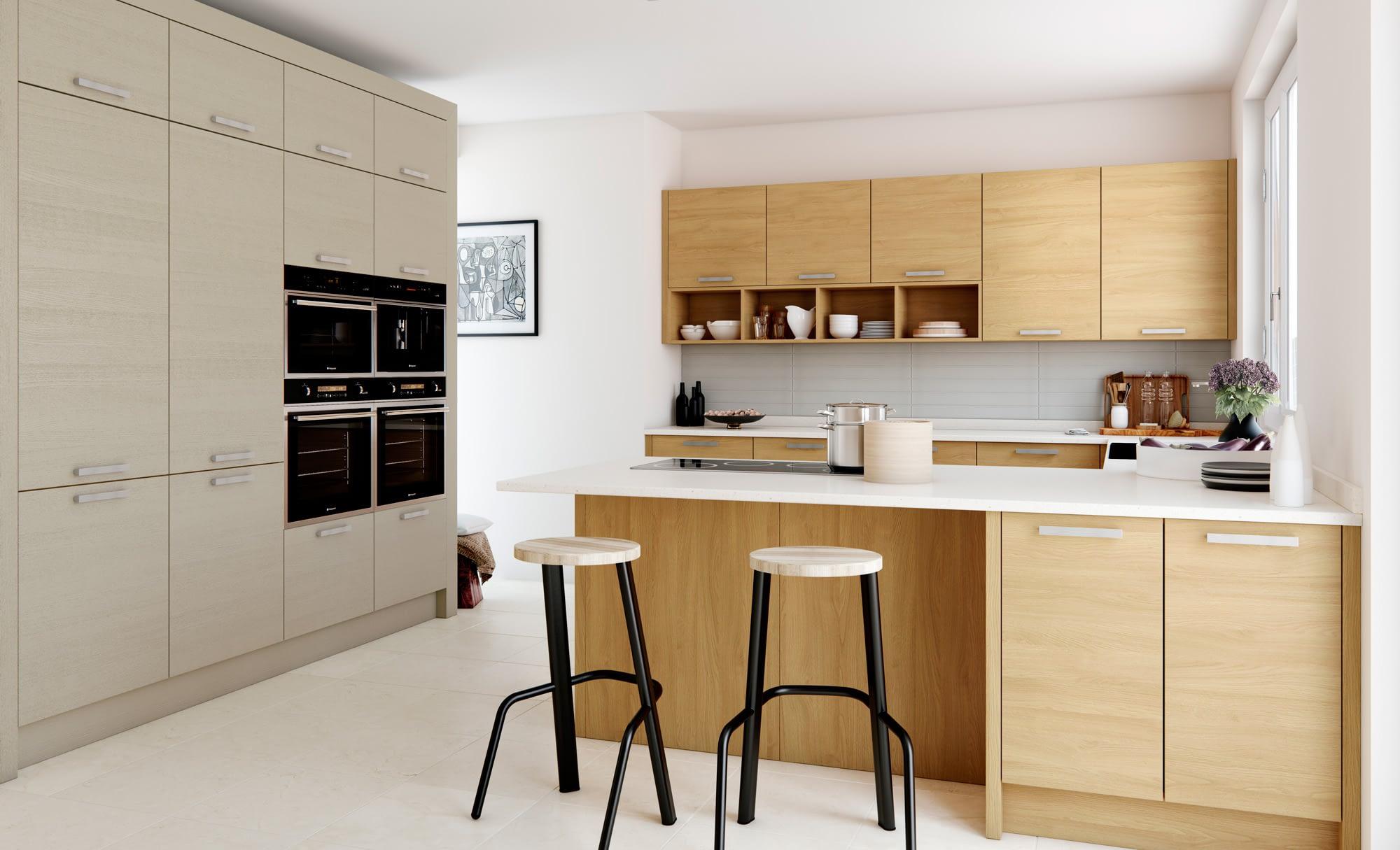 Kitchen Doors Peterborough TAVOLA Light Oak & Cashmere