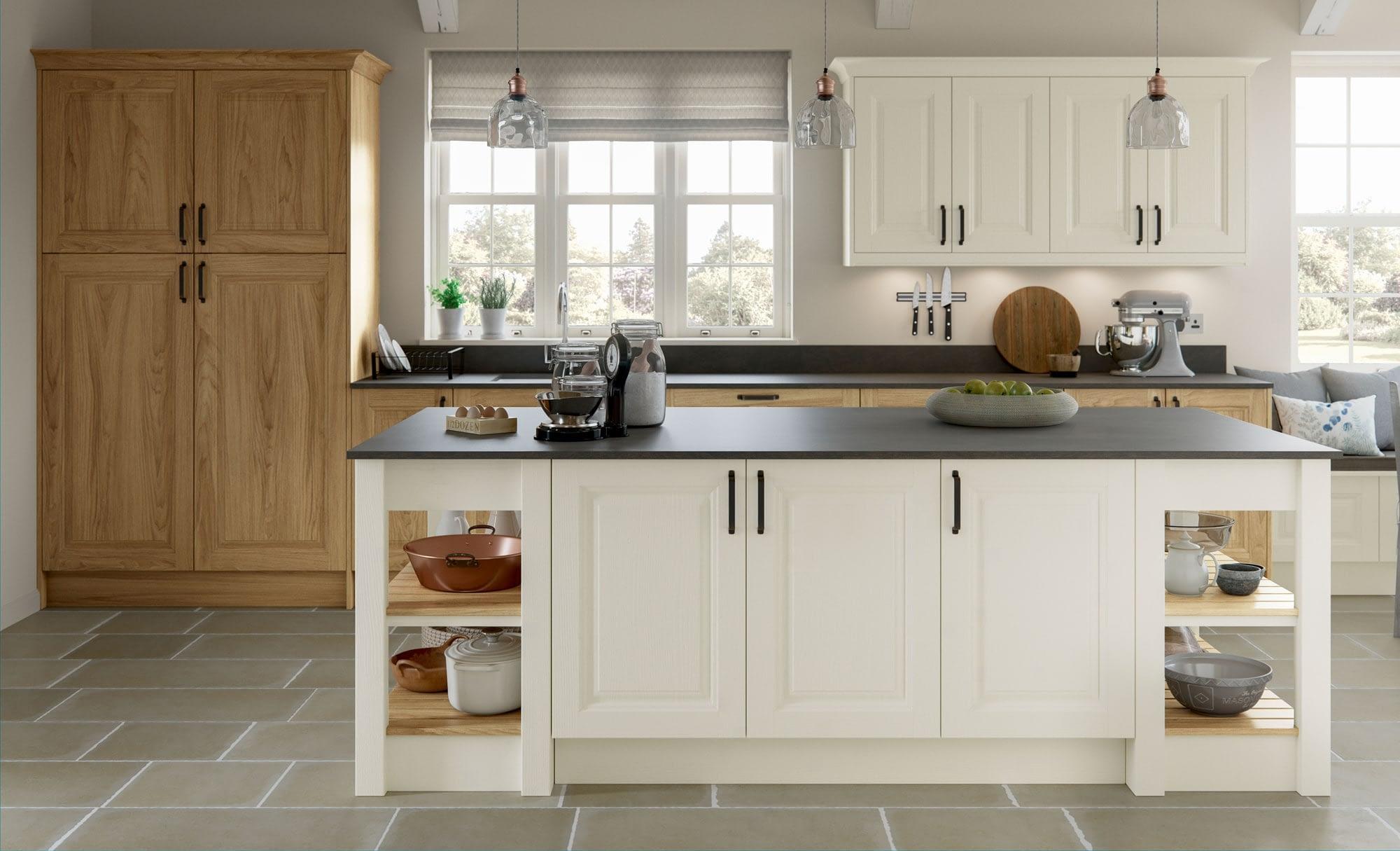 Kitchen Doors Peterborough JEFFERSON Light Oak & Ivory