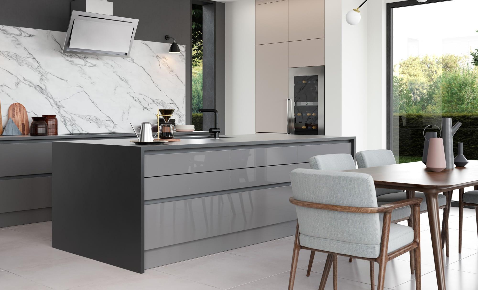 Kitchen Doors Peterborough ZOLA GLOSS HANDLELESS Dust Grey & Cashmere, Featuring Tavola Carbon