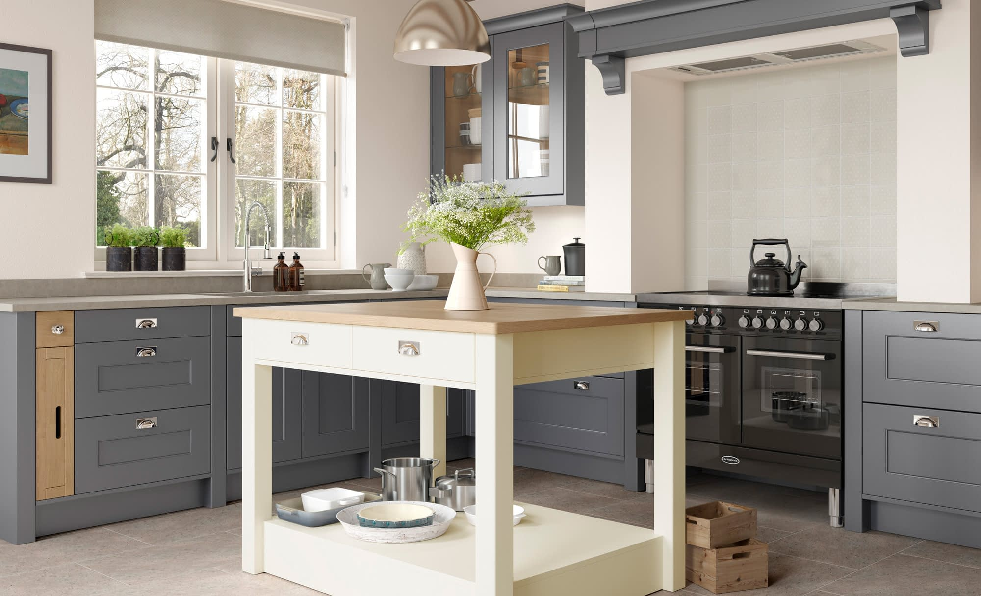 Kitchen Doors Peterborough FLORENCE Dust Grey & Porcelain
