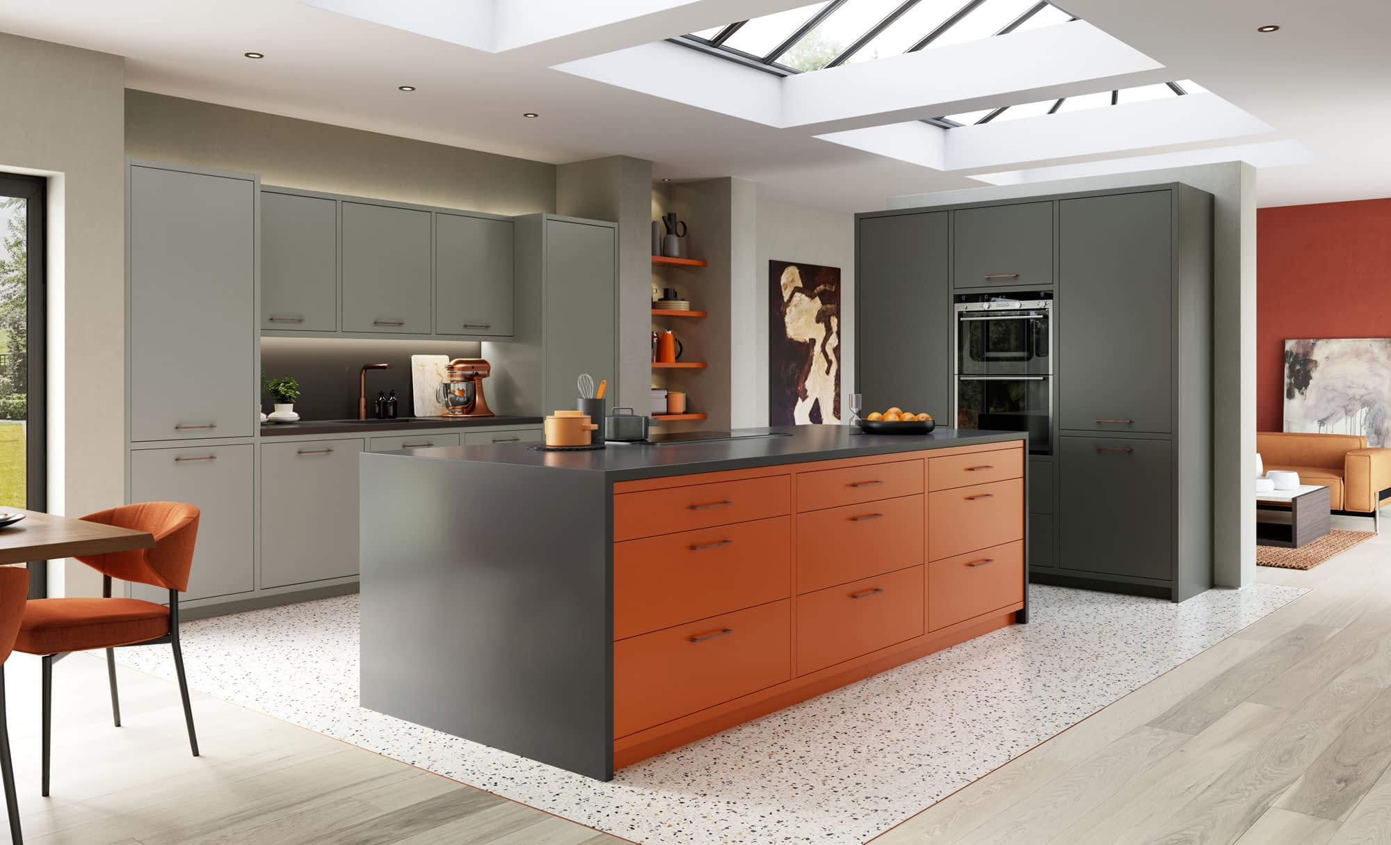 Kitchen Doors Peterborough ZOLA MATTE Zingy Orange, Graphite & Dust Grey
