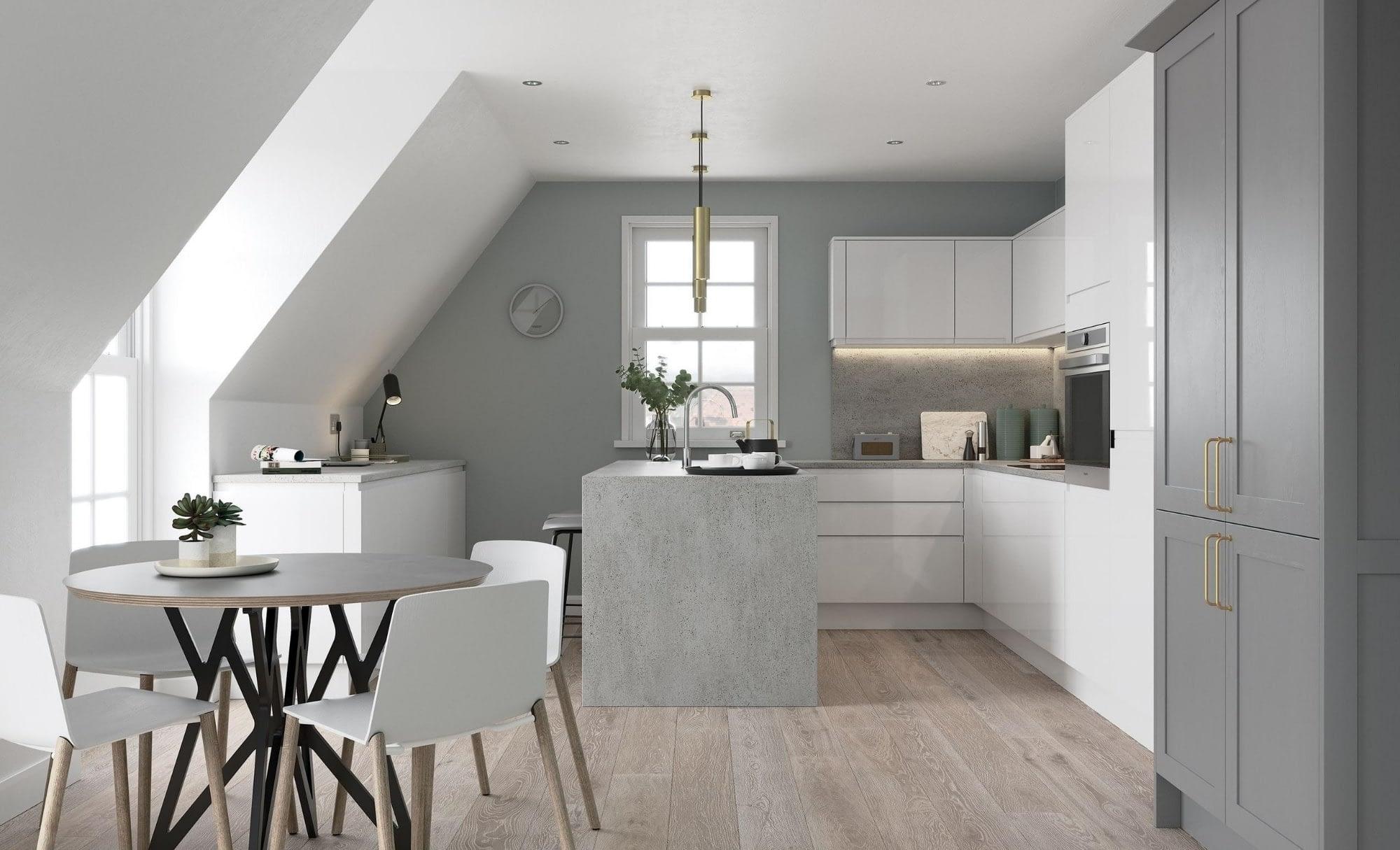 Kitchen Doors Peterborough STRADA GLOSS White & Aldana Dust Grey