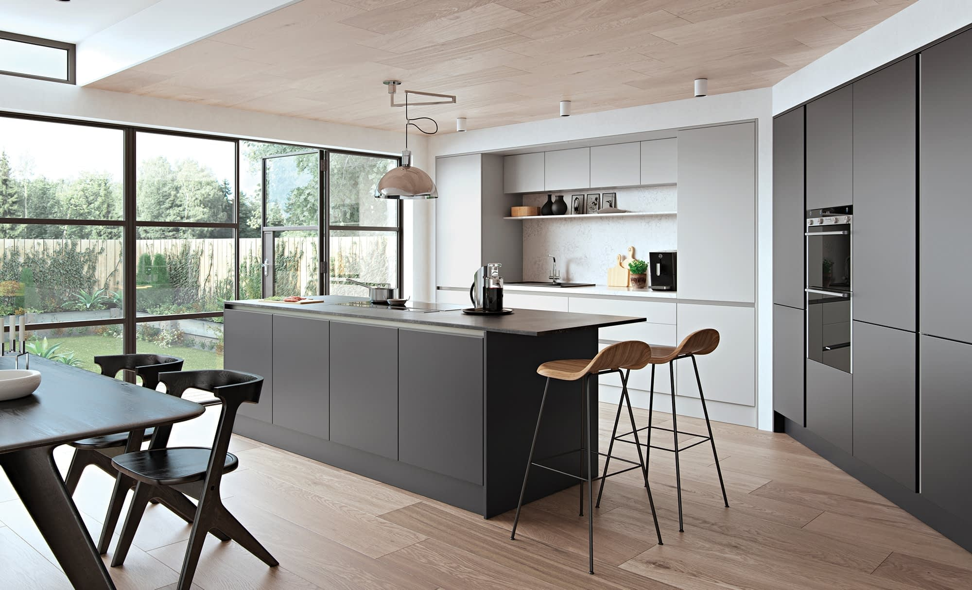 Kitchen Doors Peterborough ZOLA SOFT-MATTE HANDLELESS Light Grey & Graphite