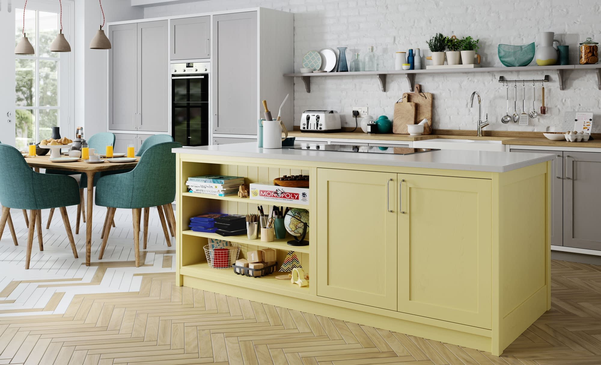 Kitchen Doors Peterborough ALDANA Dust Grey, Pale Yellow & Brilliant White