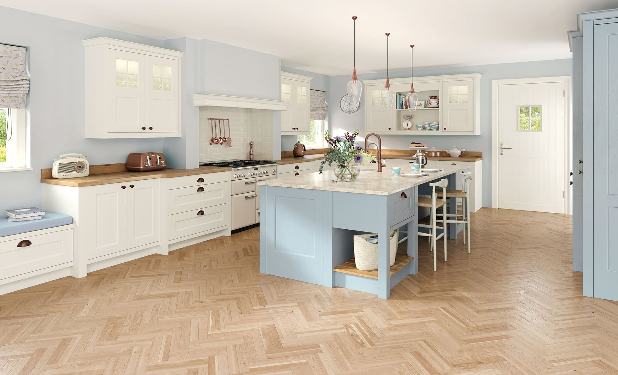 Kitchen Doors Peterborough WAKEFIELD Porcelain & Pantry Blue
