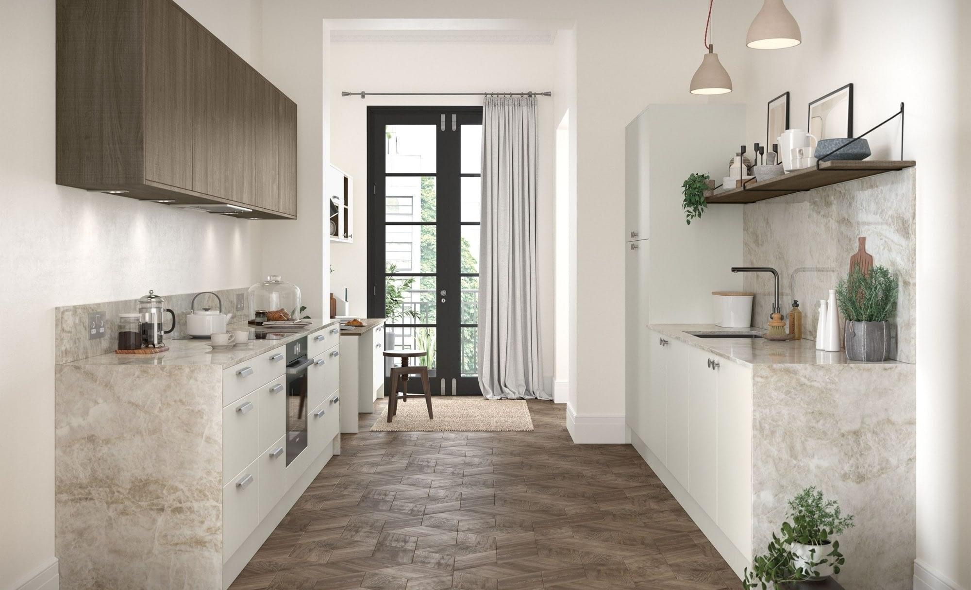 Kitchen Doors Peterborough ZOLA SOFT-MATTE Porcelain & Rezana Weathered Silver