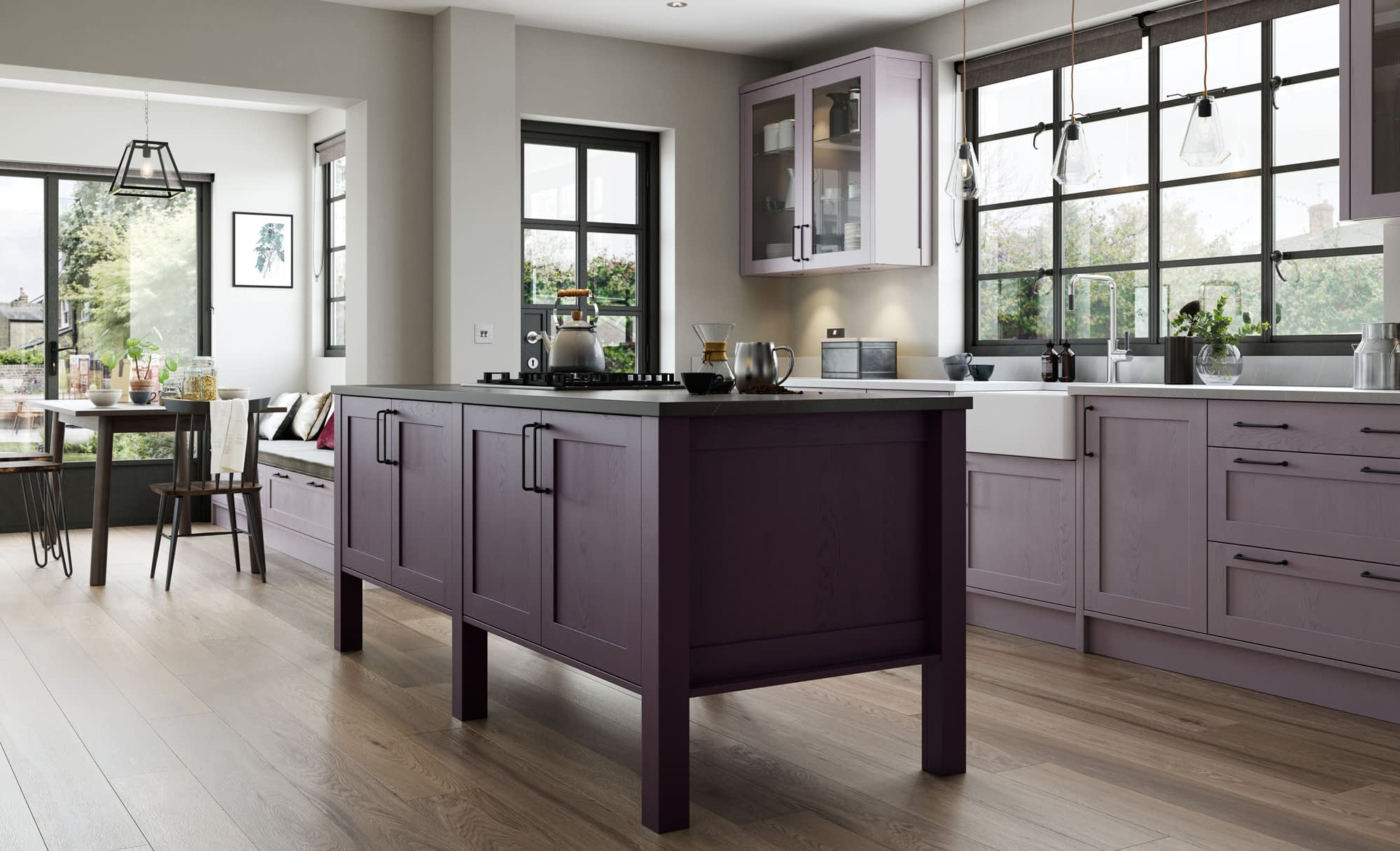 Kitchen Doors Peterborough ALDANA Deep Heather & Lavendar Grey