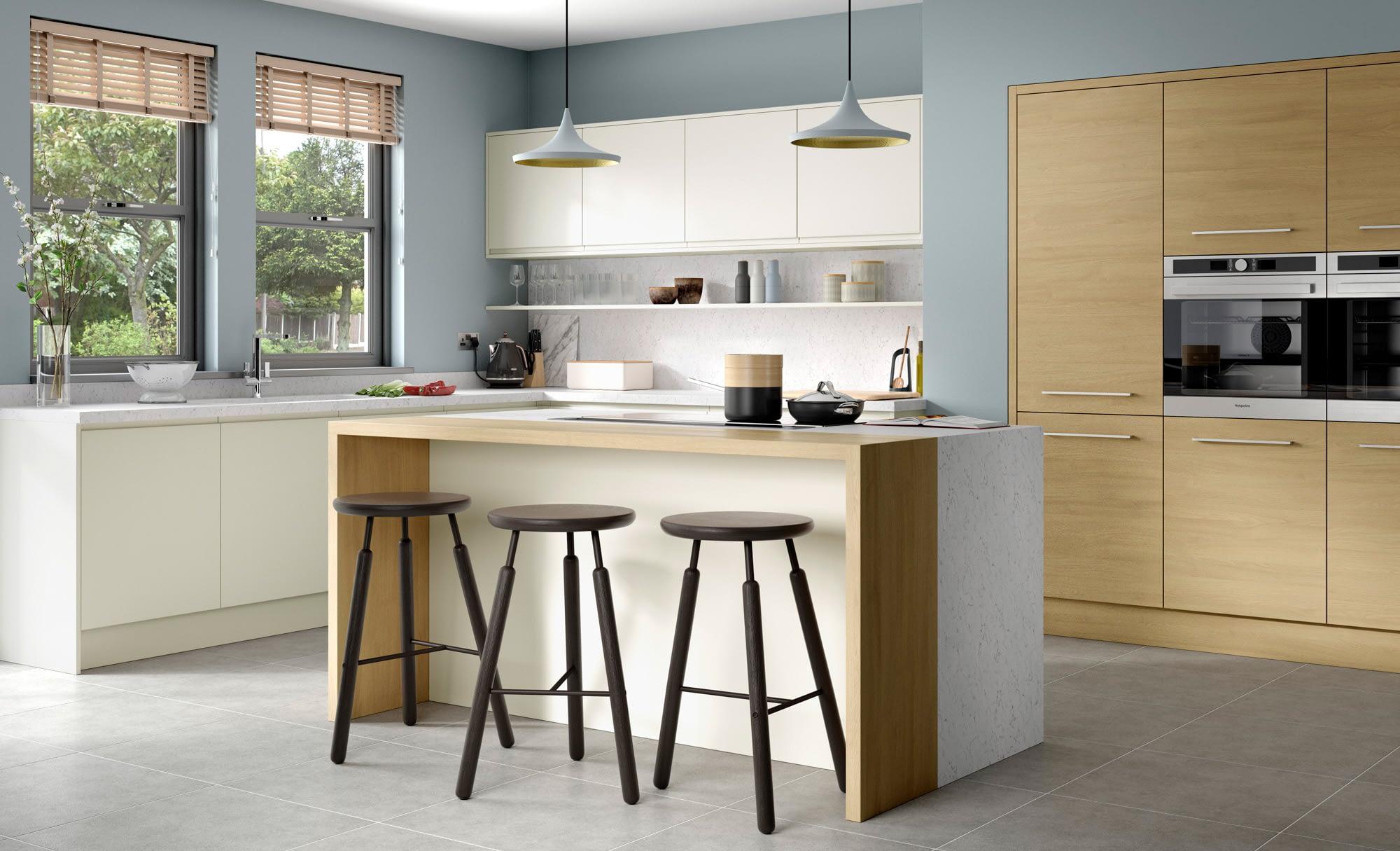 Kitchen Doors Peterborough STRADA MATTE Porcelain & Tavola Light Oak