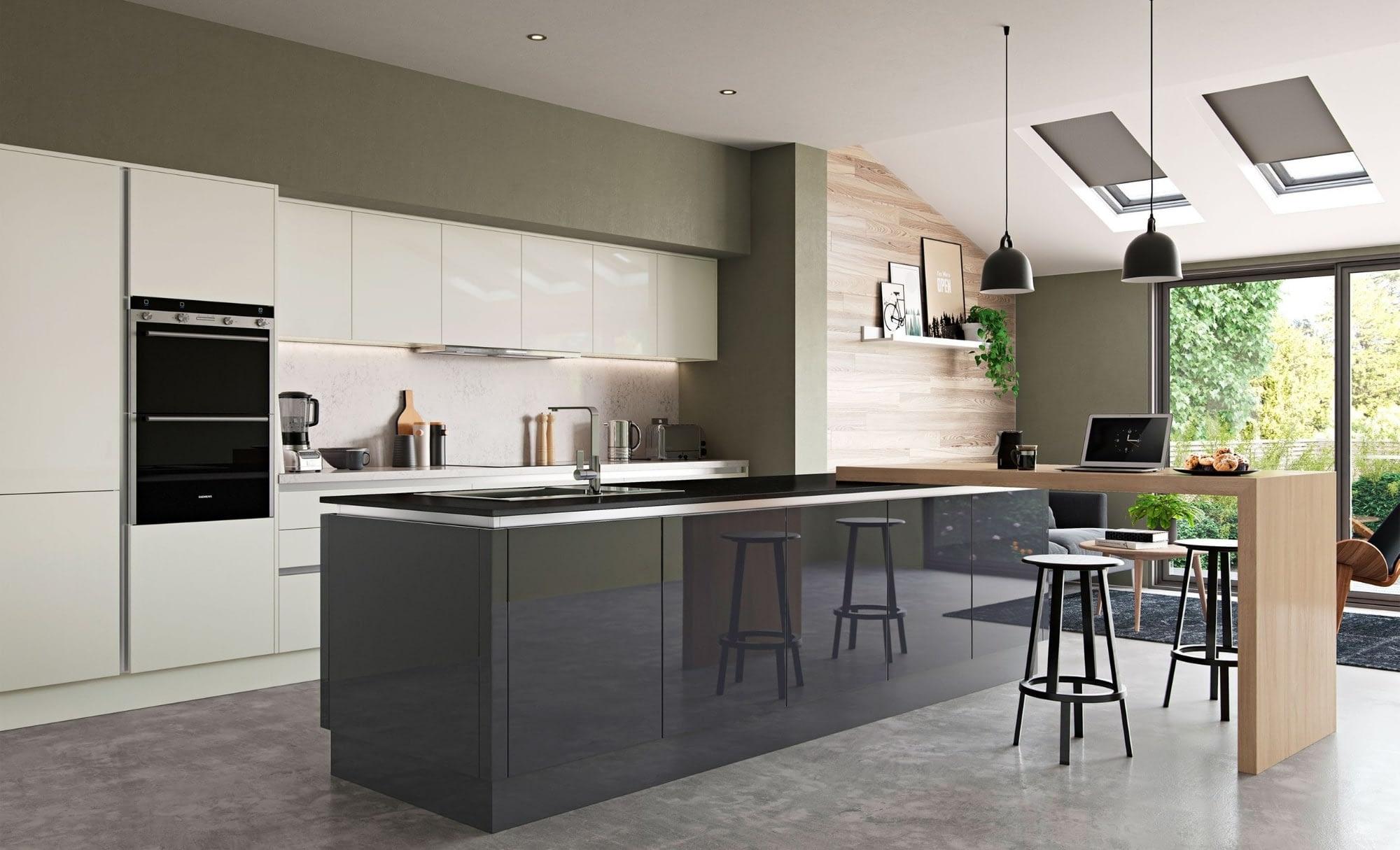 Kitchen Doors Peterborough ZOLA GLOSS HANDLELESS Porcelain & Graphite