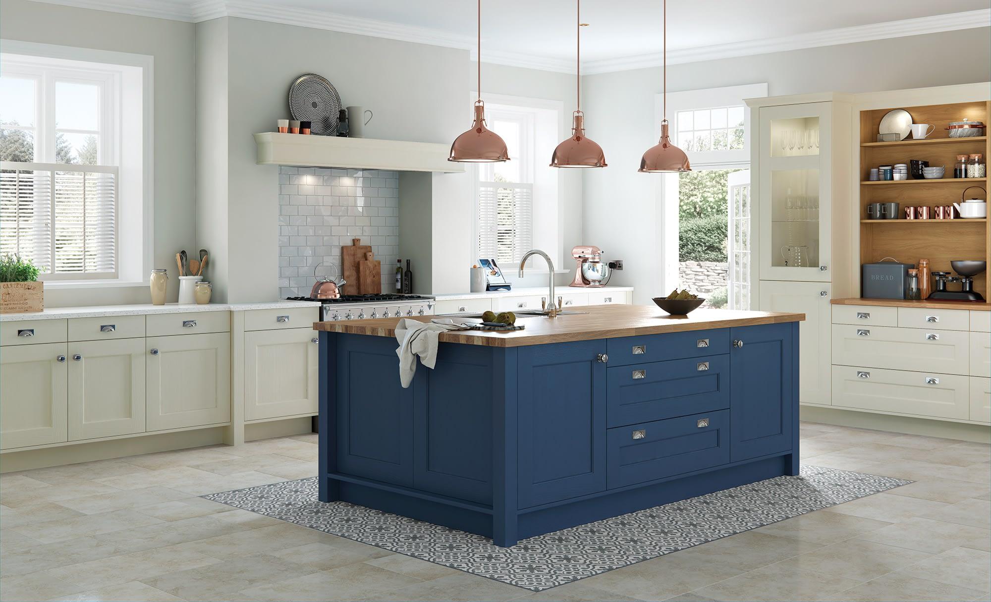 Kitchen Doors Peterborough WAKEFIELD Mussel & Parisian Blue