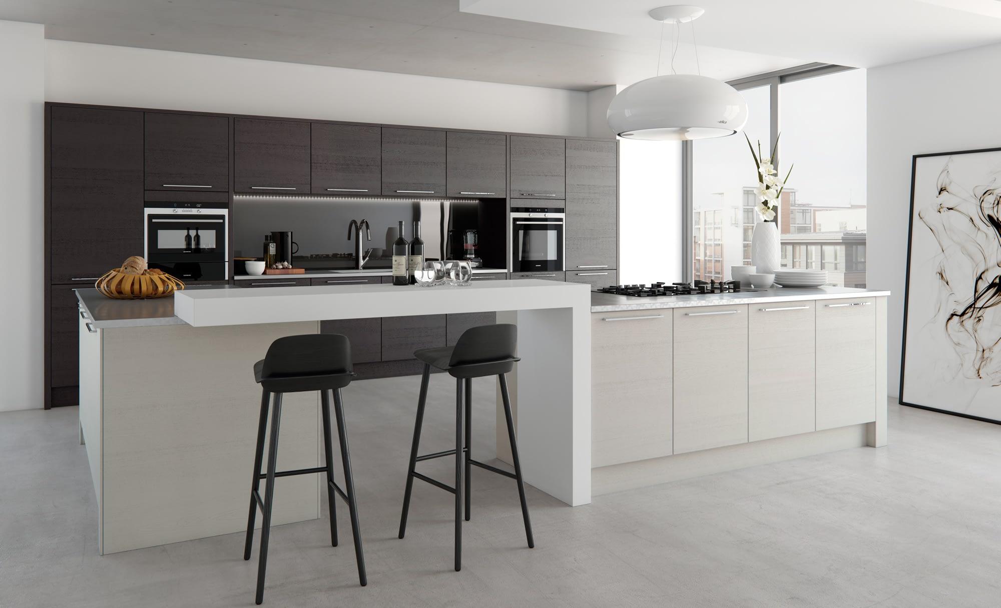 Kitchen Doors Peterborough TAVOLA Hacienda Black & Light Grey