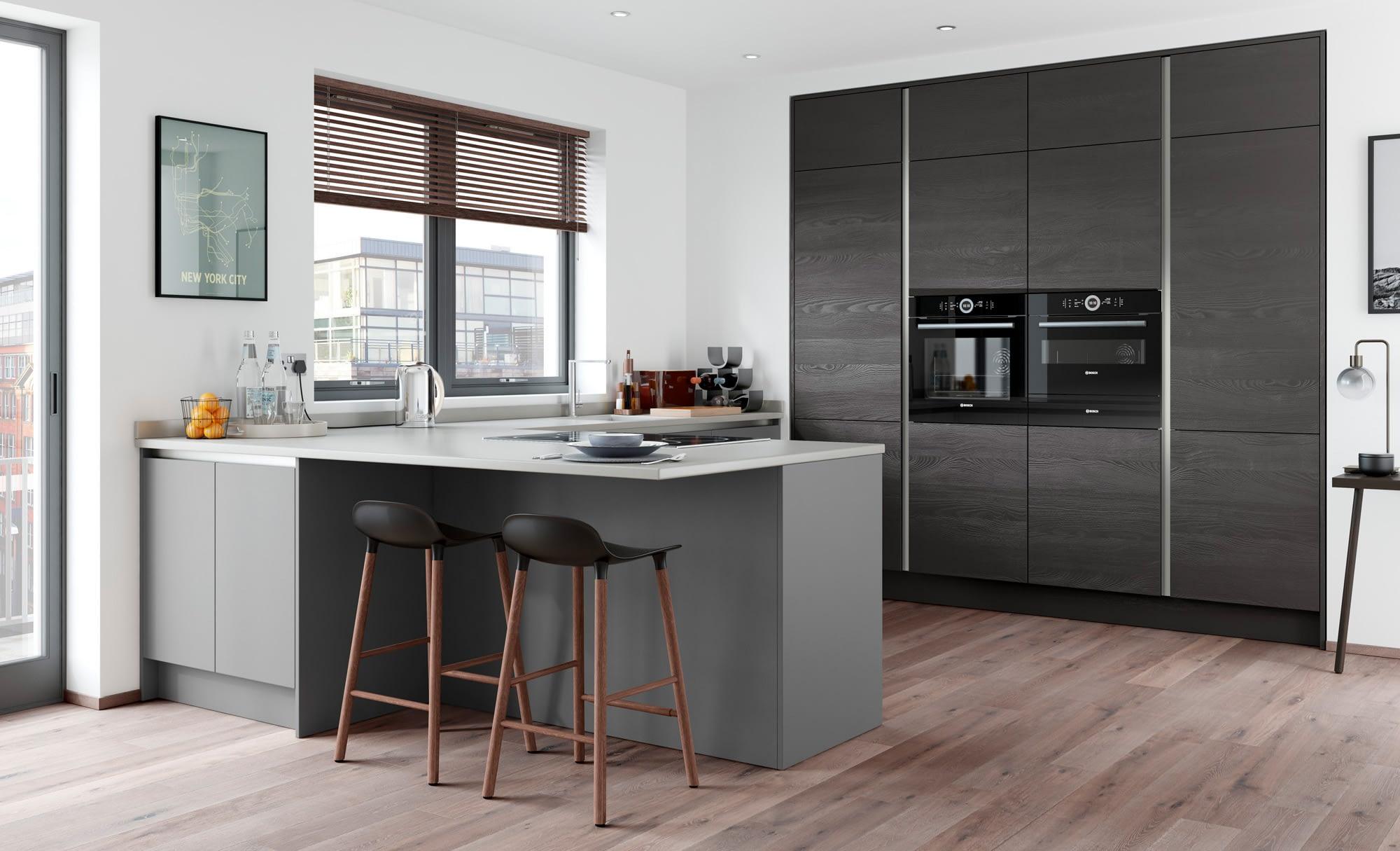 Kitchen Doors Peterborough ZOLA SOFT-MATTE HANDLELESS Dust Grey & Tavola Hacienda Black
