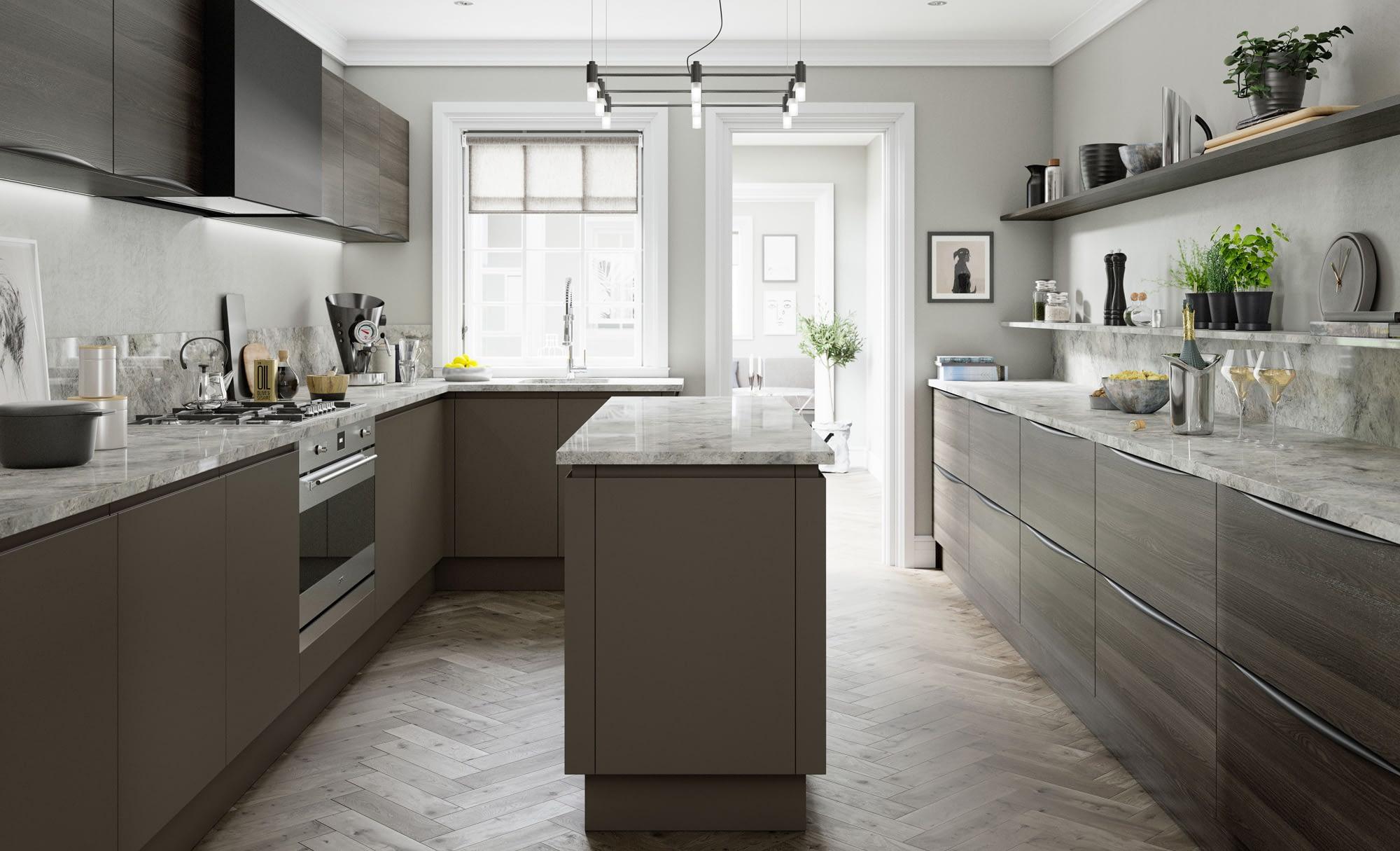 Kitchen Doors Peterborough STRADA MATTE Lava & Tavola Carbon Oak