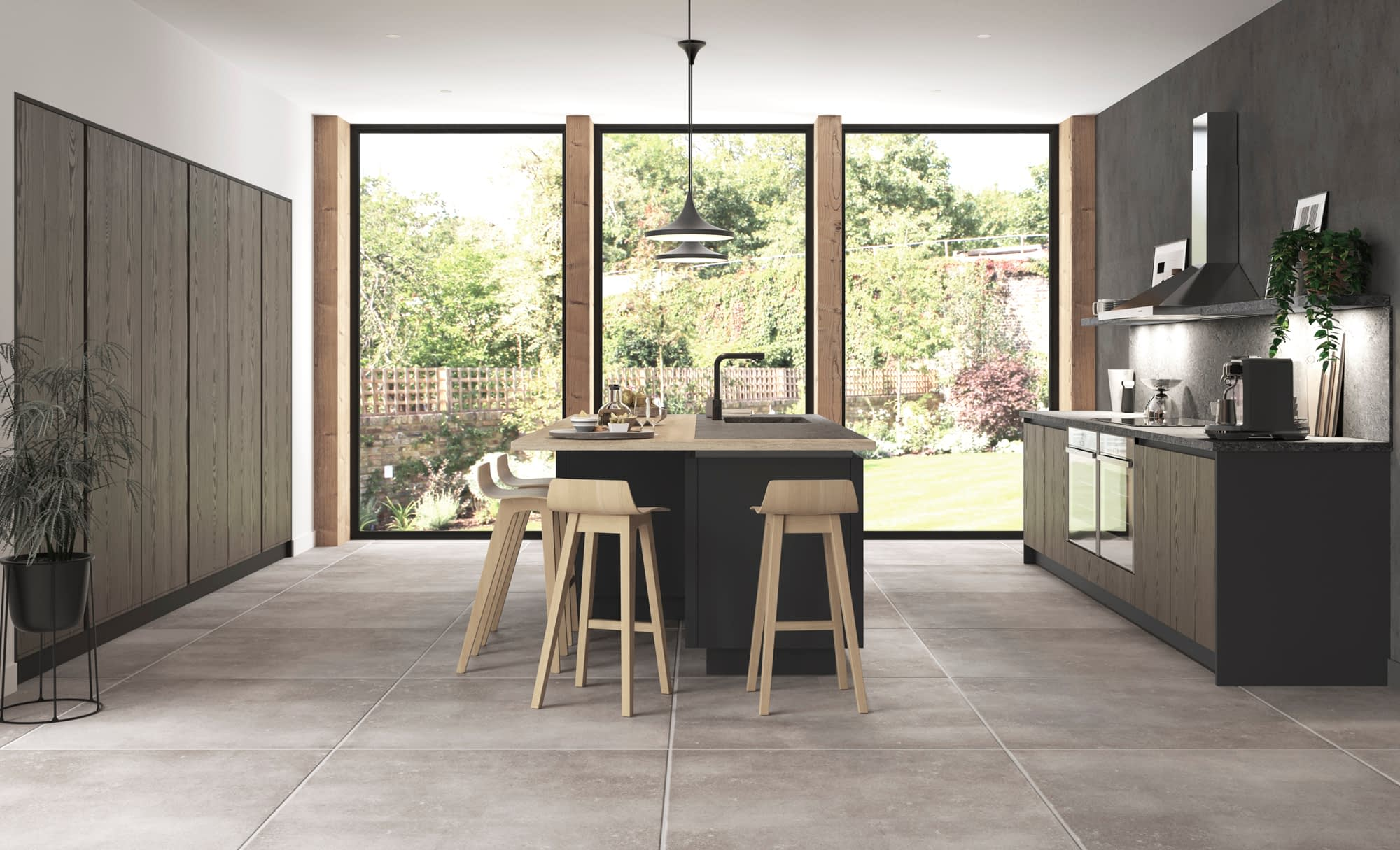 Kitchen Doors Peterborough KELSO Stained Truffle Grey & Zola Matte Graphite