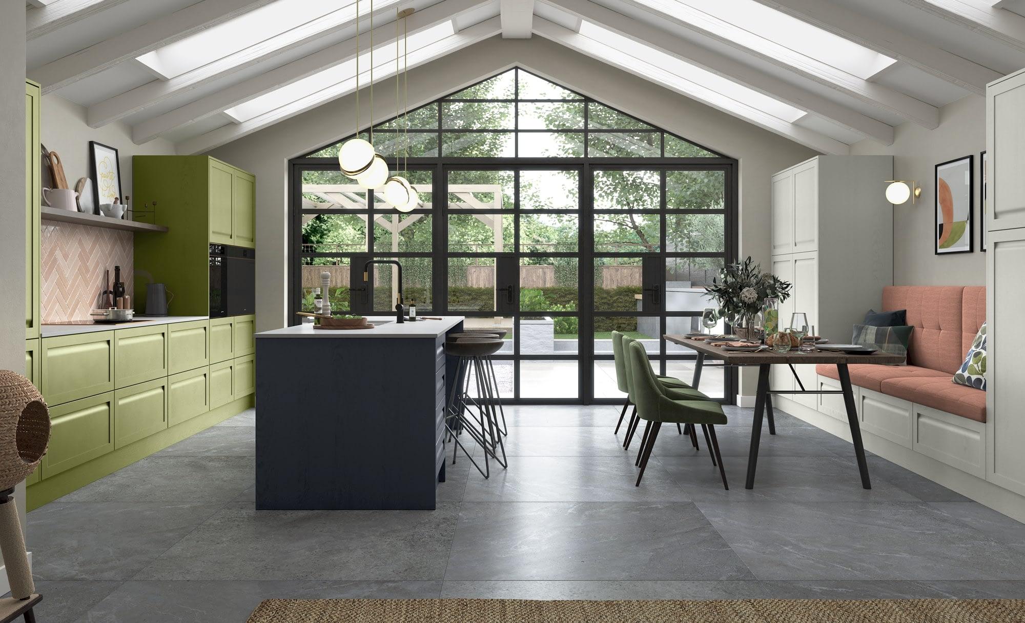Kitchen Doors Peterborough HARBORNE Slate Blue, Stone & Citrus Green