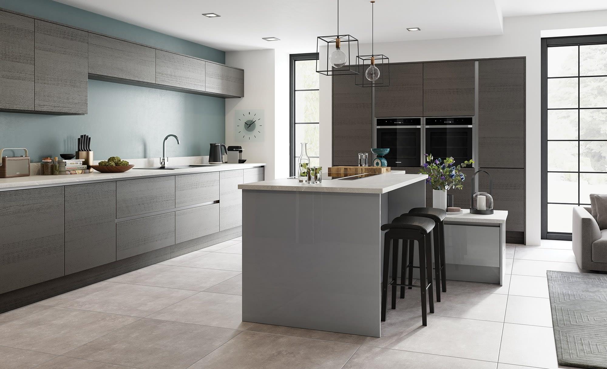Kitchen Doors Peterborough TAVOLA Carbon & Zola Gloss Dust Grey