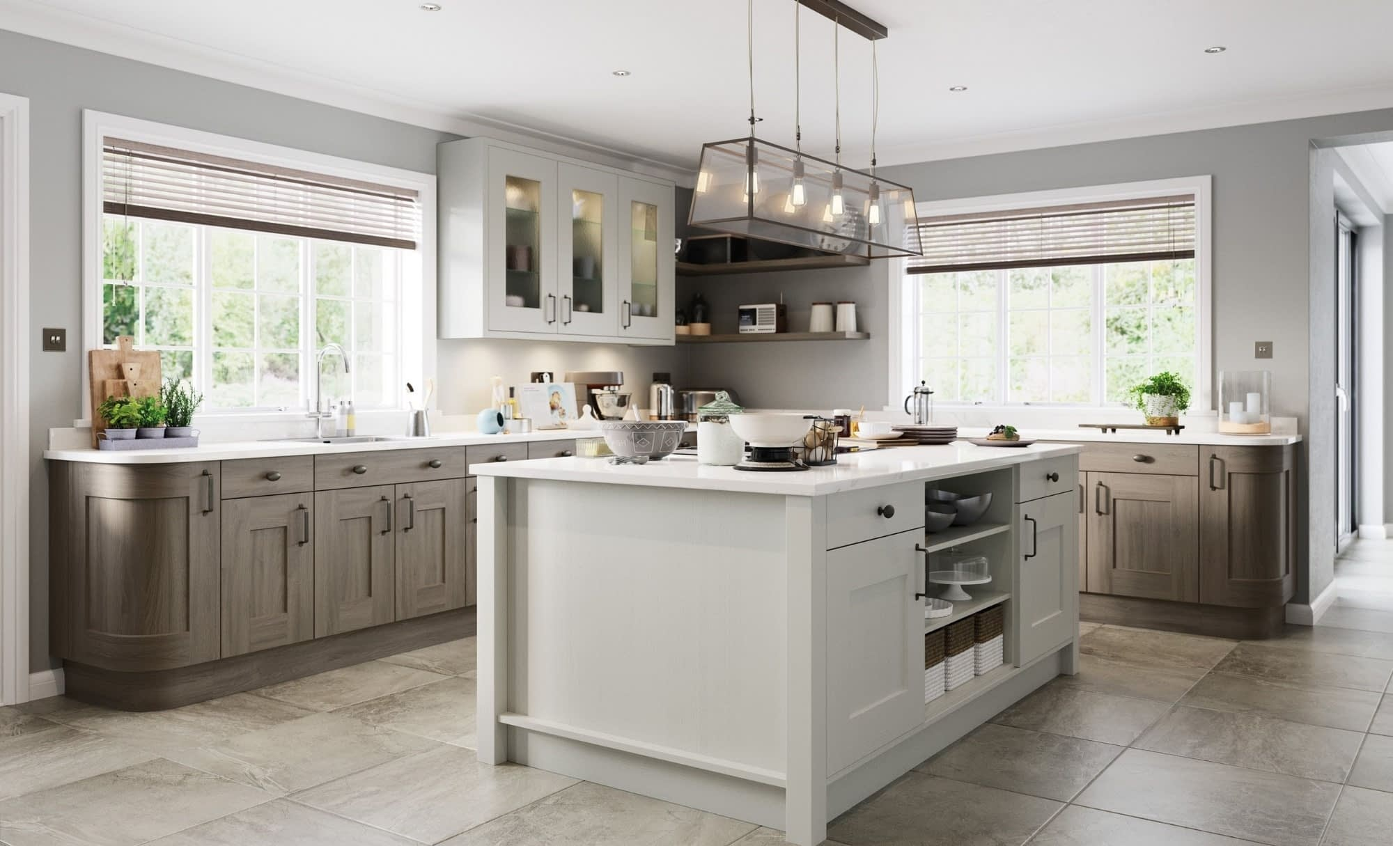Kitchen Doors Peterborough CLONMEL Light Grey & Stained Carbon
