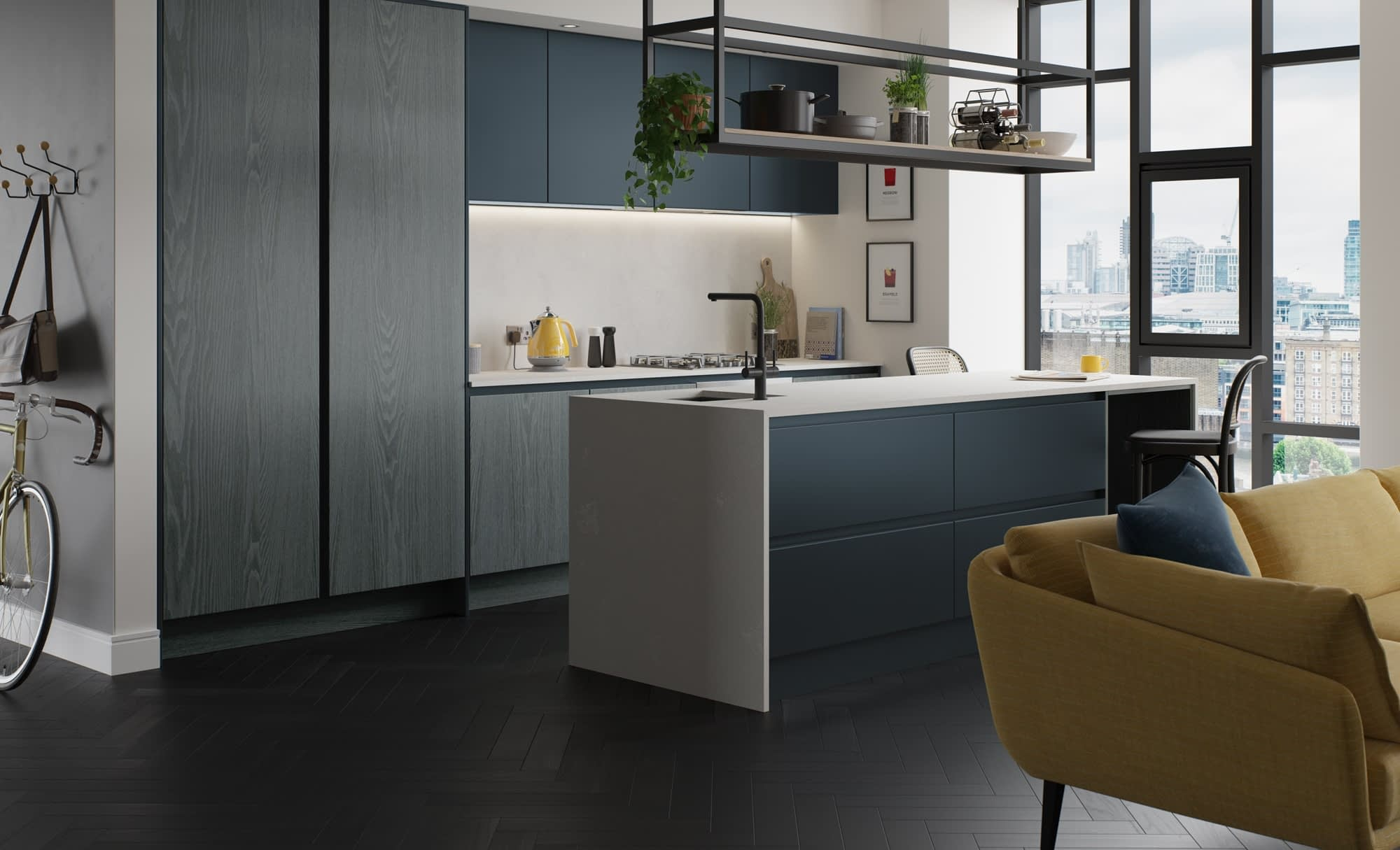 Kitchen Doors Peterborough KELSO Stained Pacific Blue & Zola Matte Marine