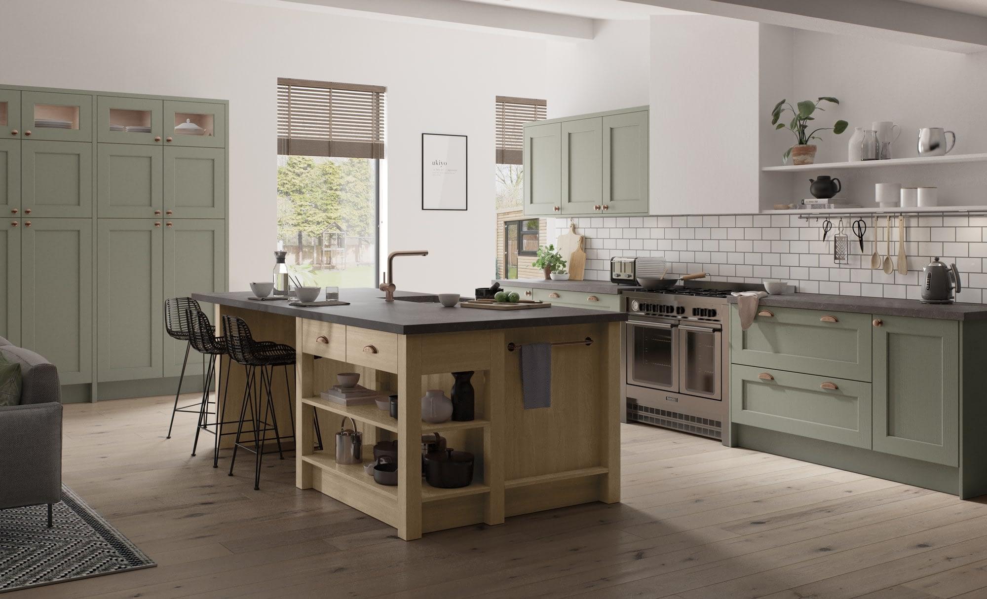 Kitchen Doors Peterborough WAKEFIELD Cardamom & Light Oak