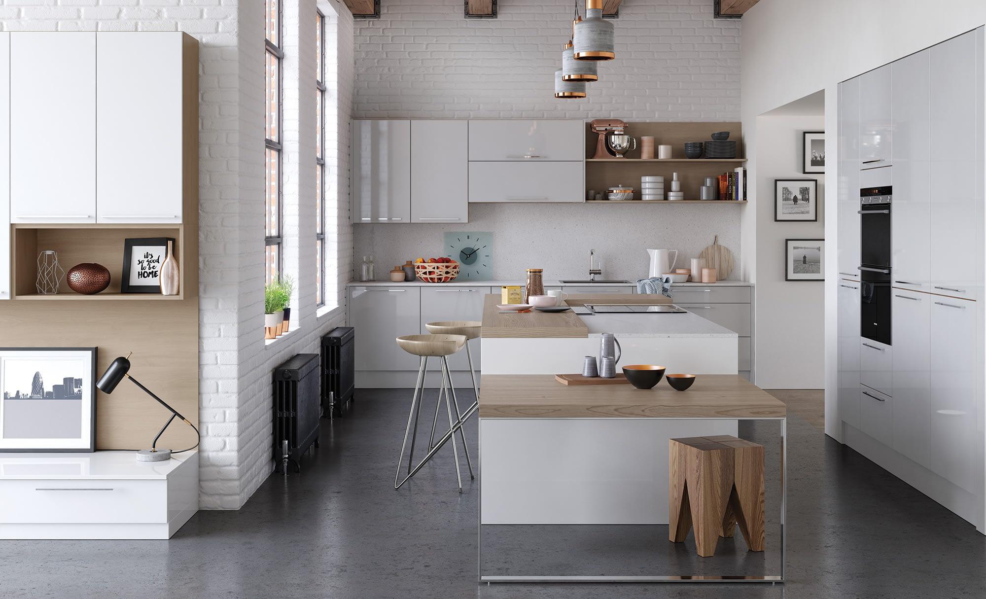 Kitchen Doors Peterborough ZOLA GLOSS White & Light Grey