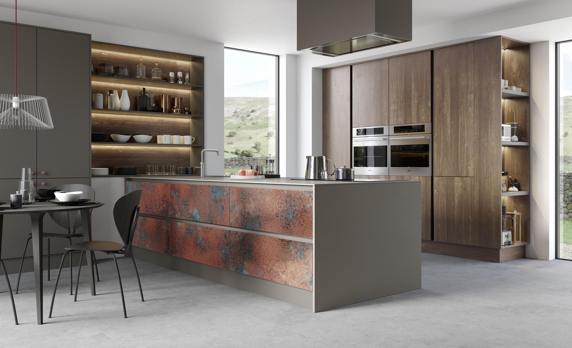 Kitchen Doors Peterborough FERRO Oxidised Copper, Zola Matte Lava, Rezana Espresso Oak