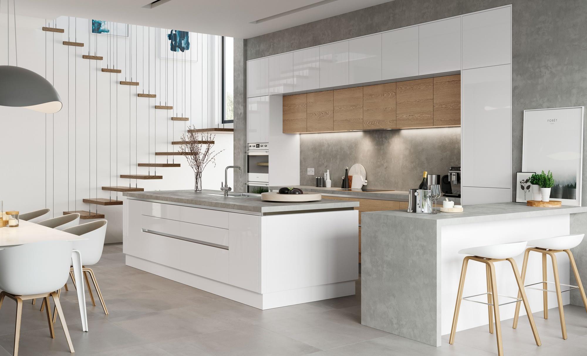 Kitchen Doors Peterborough ZOLA GLOSS HANDLELESS White & Tavola Parched Oak
