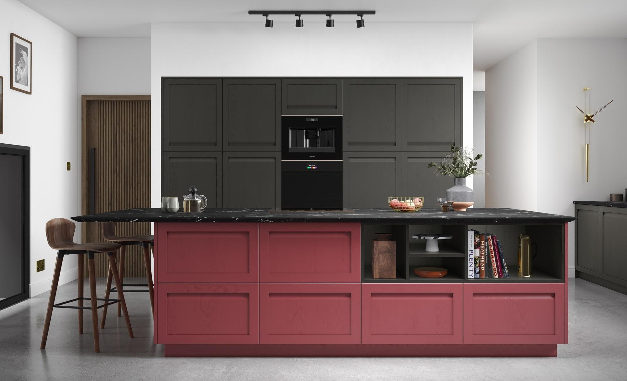 Kitchen Doors Peterborough HARBORNE Graphite & Chicory Red