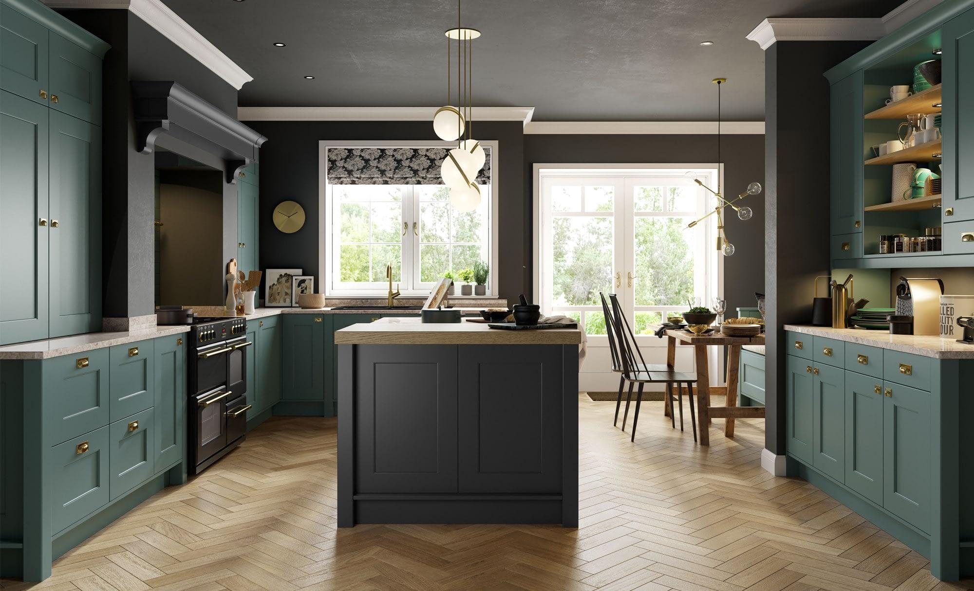Kitchen Doors Peterborough FLORENCE Graphite & Viridian