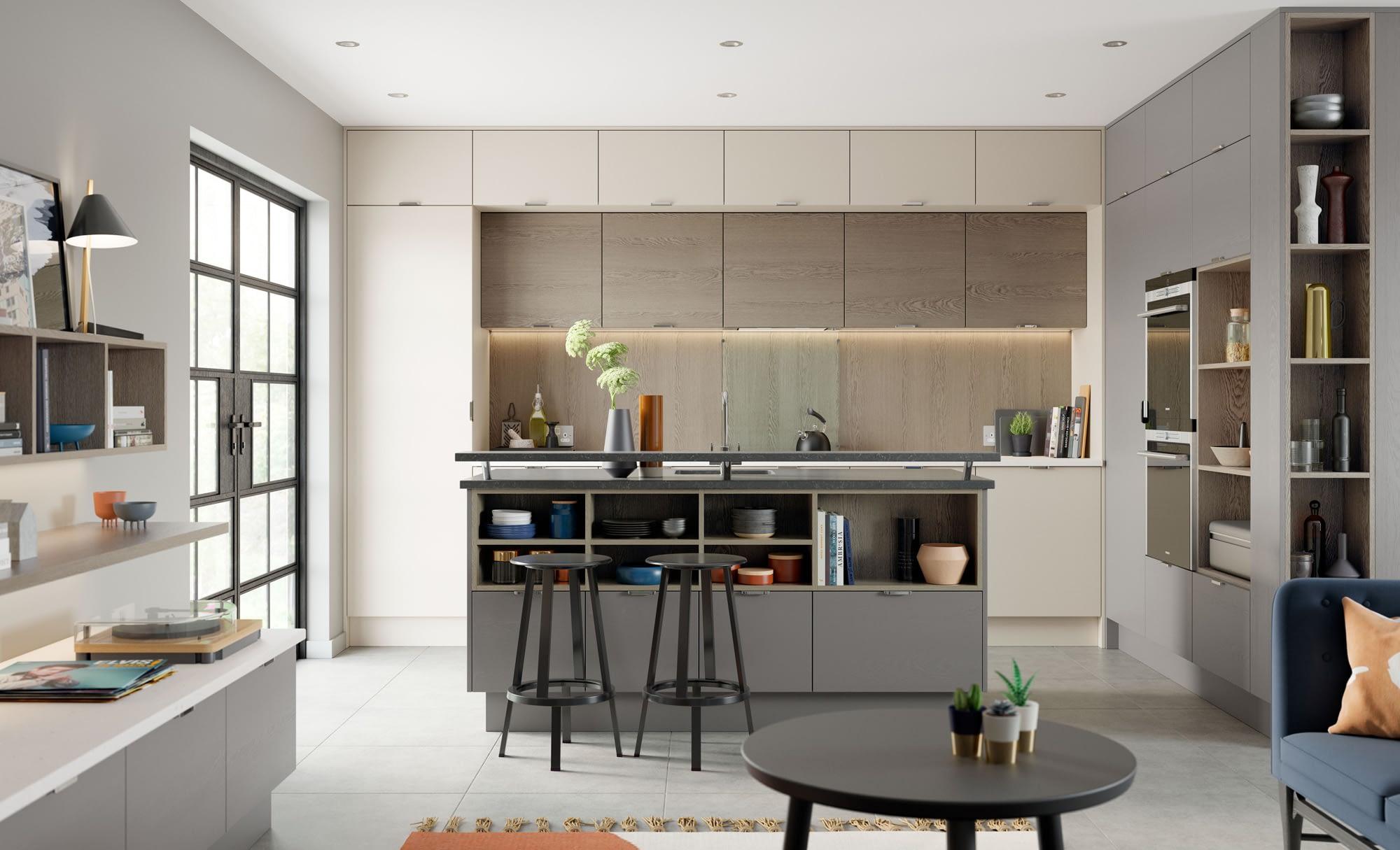 Kitchen Doors Peterborough TAVOLA Shell, Dust Grey & Weathered Silver