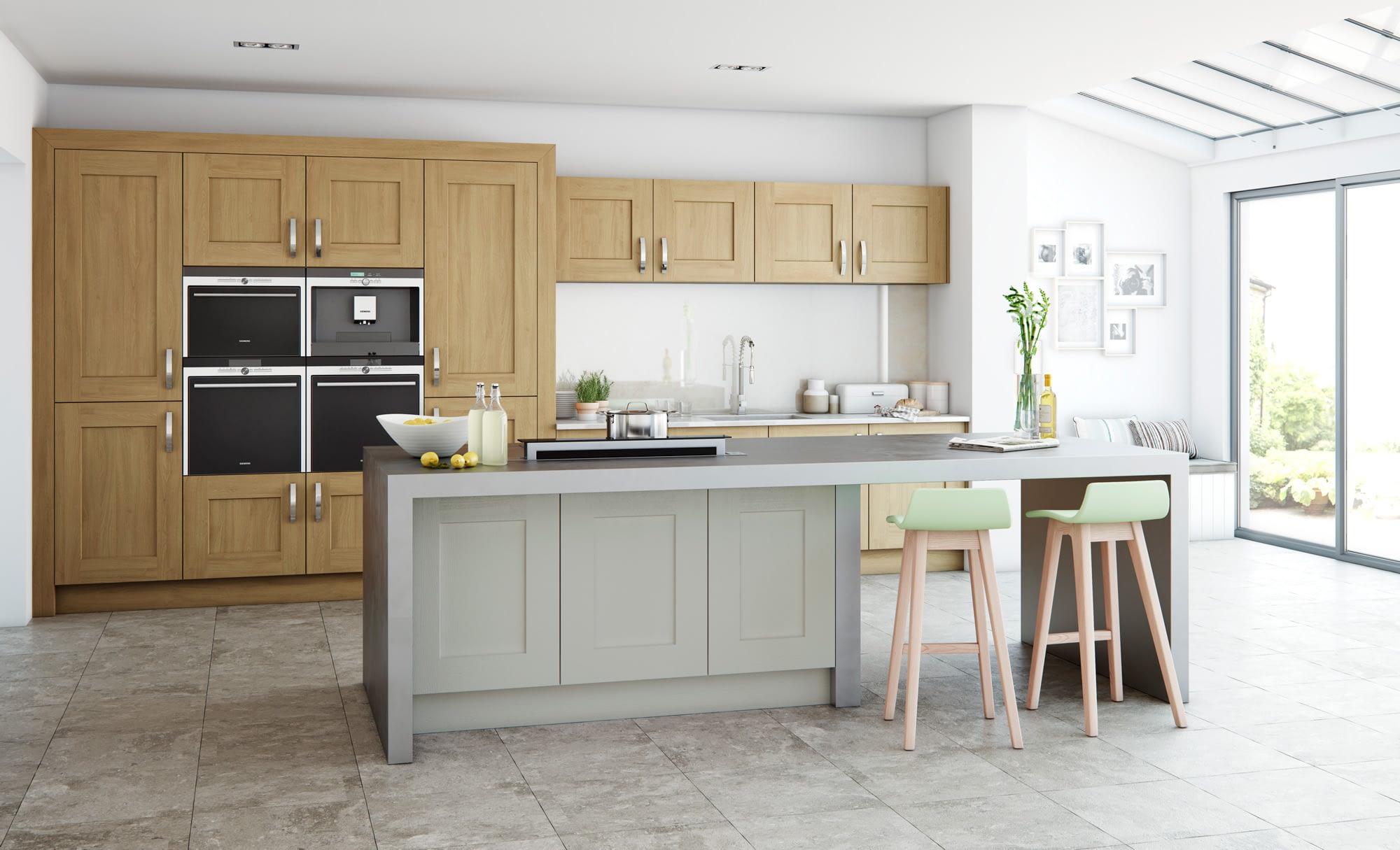 Kitchen Doors Peterborough CLONMEL OAK Light Oak & Stone