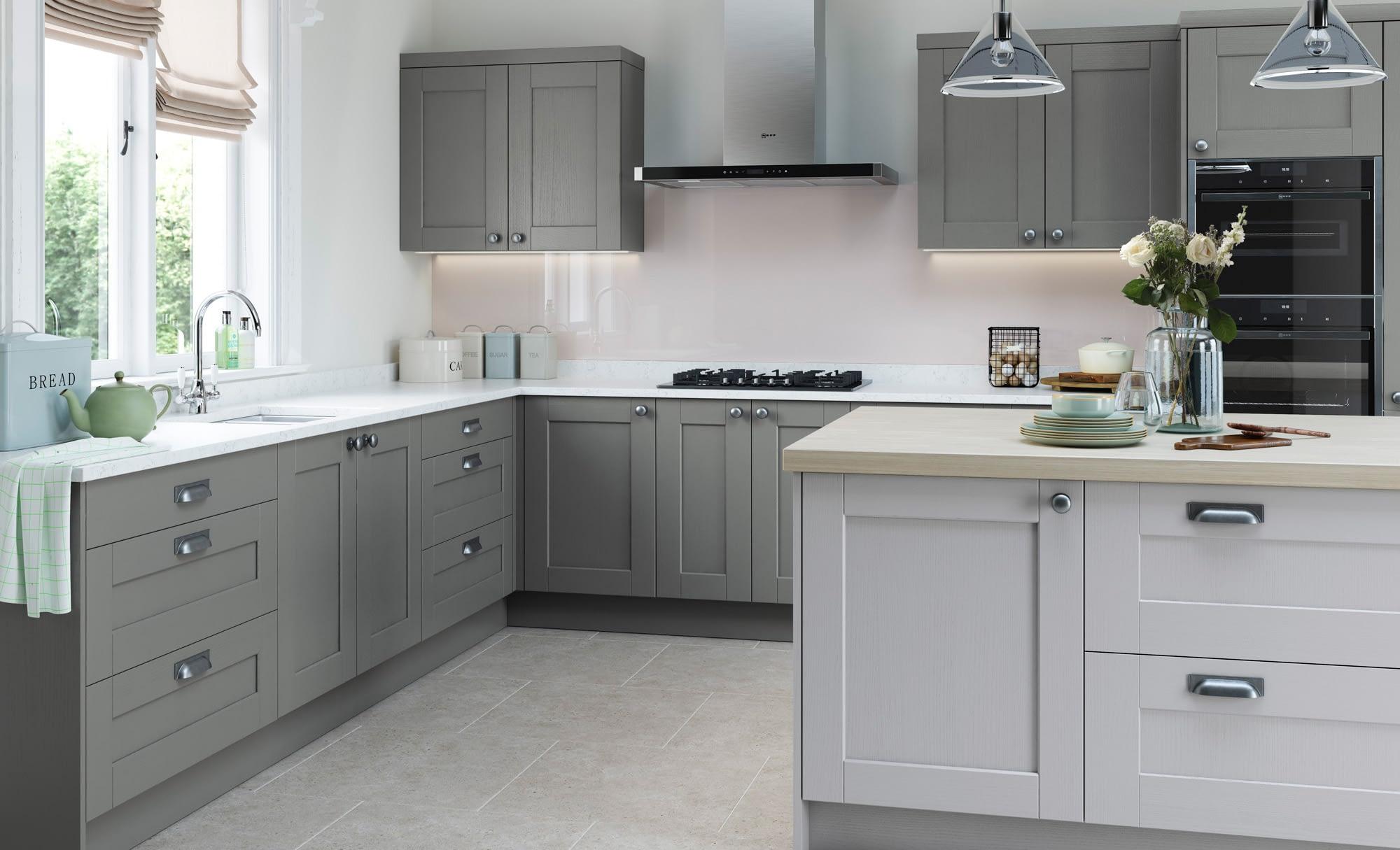 Kitchen Doors Peterborough KENSINGTON Light Grey & Dust Grey
