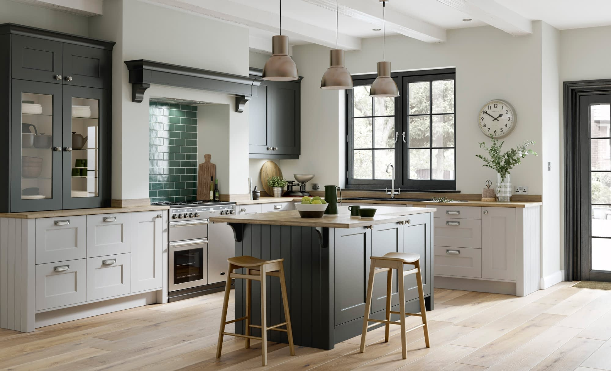 Kitchen Doors Peterborough FLORENCE Graphite & Light Grey